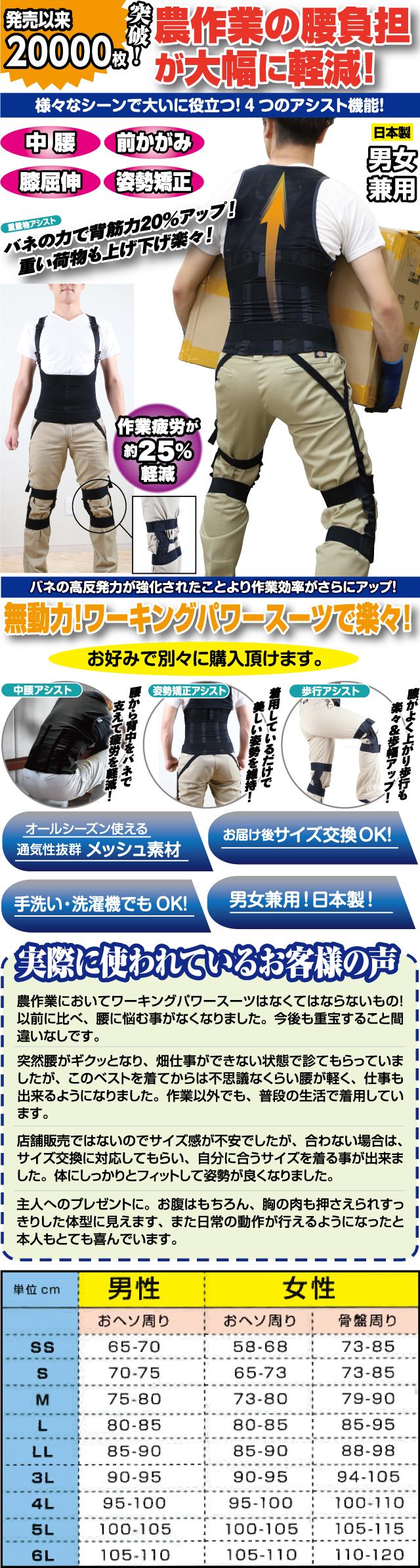 ワーキングパワースーツ&膝サポーターセット